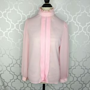 Vintage Contempo High Collar Pink Blouse